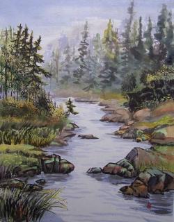 Sumi-e Landscape Painting