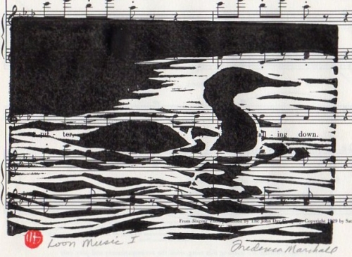 Loon Music 1 Block Print
