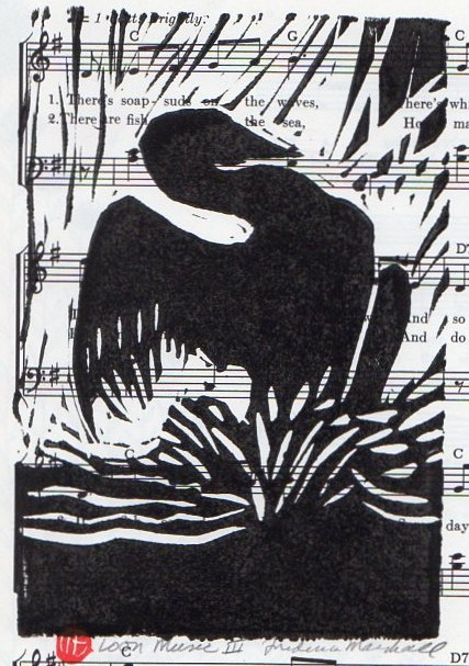Loon Music 3 Block Print