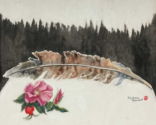 Rose Feather Painting