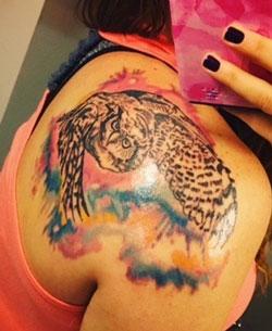 Sumi-e Owl Painting Tattoo