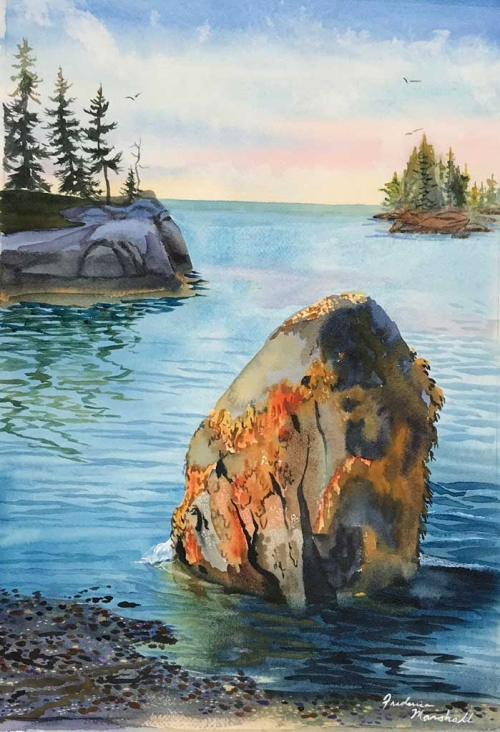 Sand Beach Low Tide Watercolor by Frederica Marshall