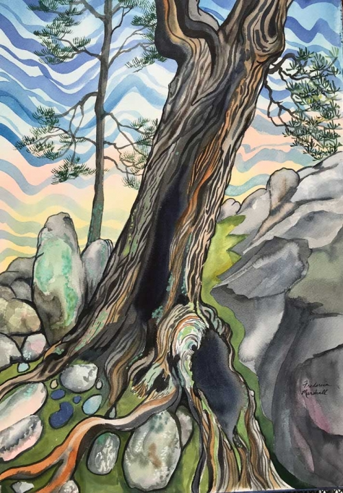 Stone Dreaming Watercolor by Frederica Marshall