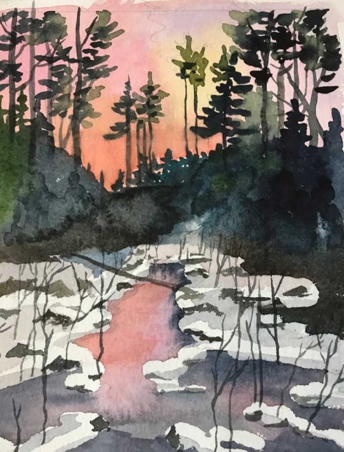 Sunset Pond Watercolor by Frederica Marshall